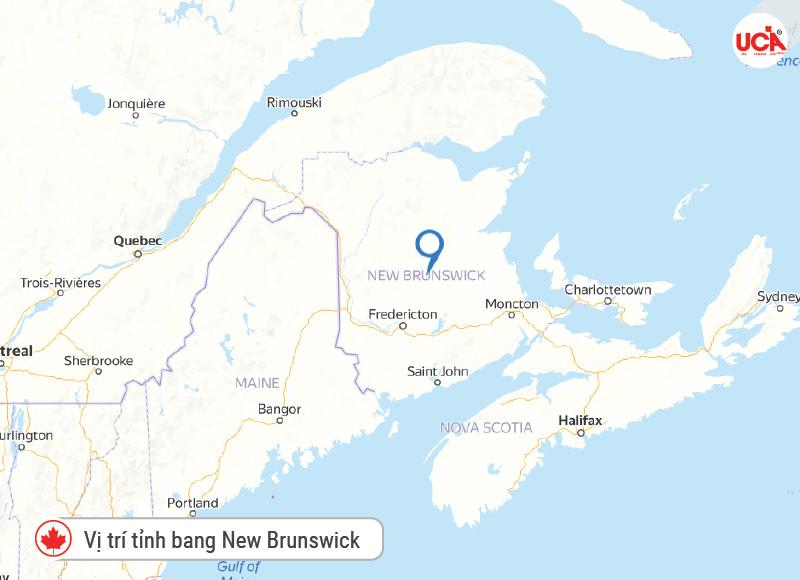 Vị trí tỉnh bang New Brunswick