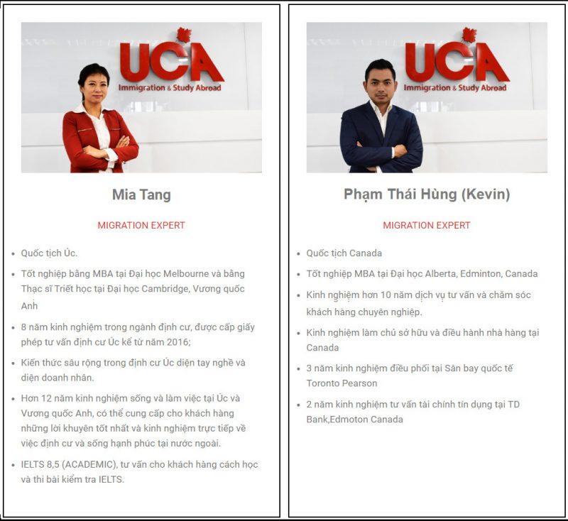 Canada Kevin và Mia Tang là Chuyên viên tư vấn UCA