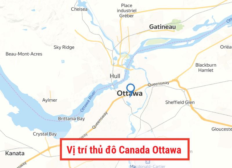 Vị trí thủ đô Ottawa Canada