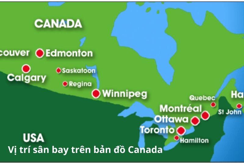 Vị trí các sân bay trên bản đồ Canada