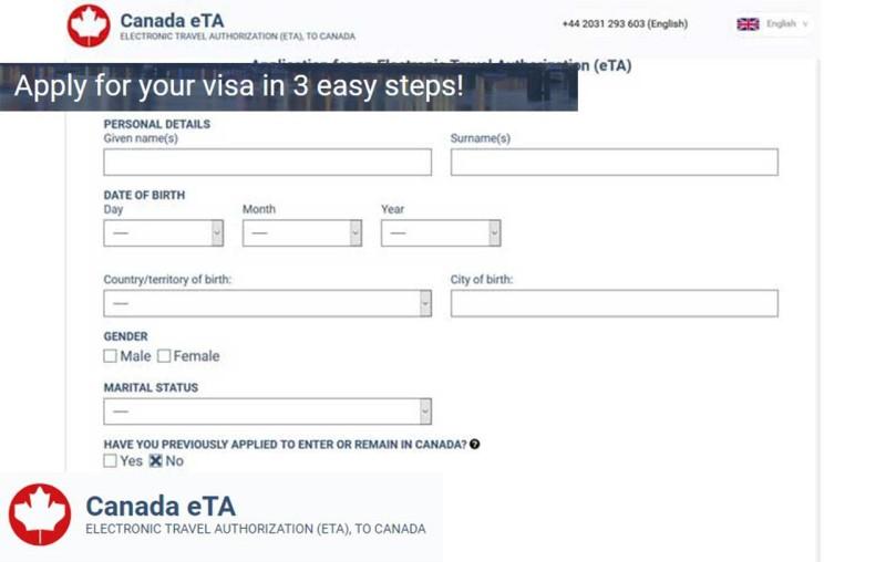 Mẫu tờ khai visa Canada online