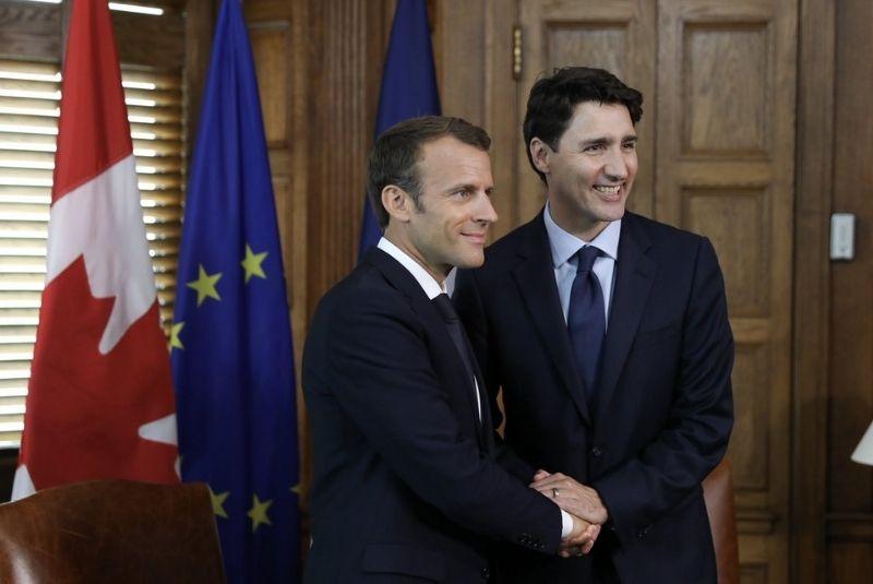 Thủ tướng Justin Trudeau cùng tổng thống Pháp
