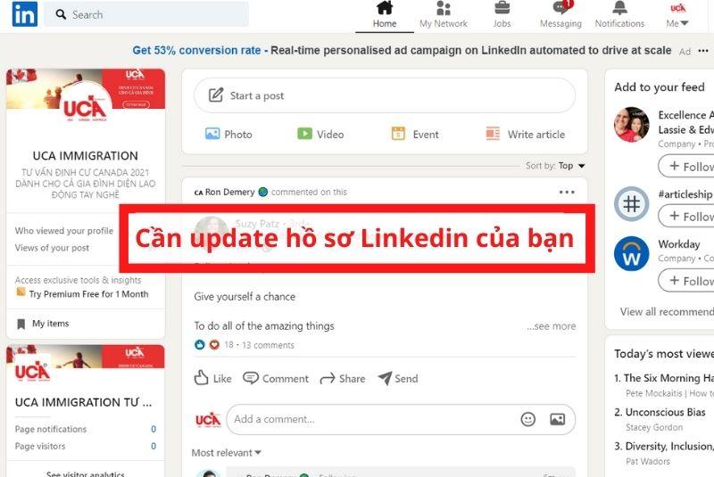 Cần update hồ sơ Linkedin của bạn