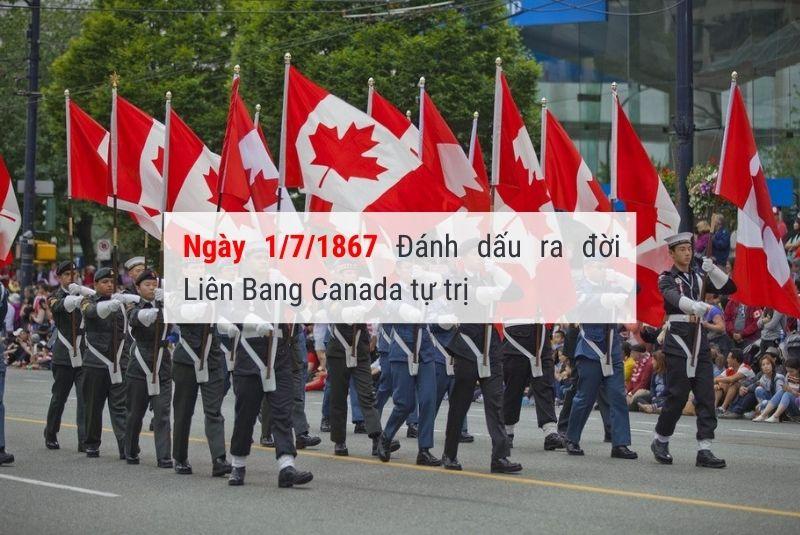 ngày 1 tháng 7 đánh dấu tuyên ngôn quốc khánh Canada
