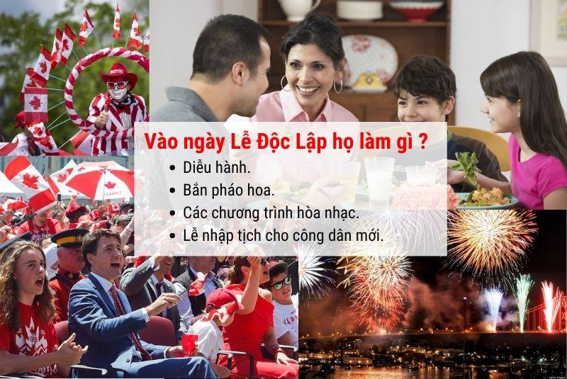 Vào ngày lễ độc lập Canada họ sẽ làm gì ?