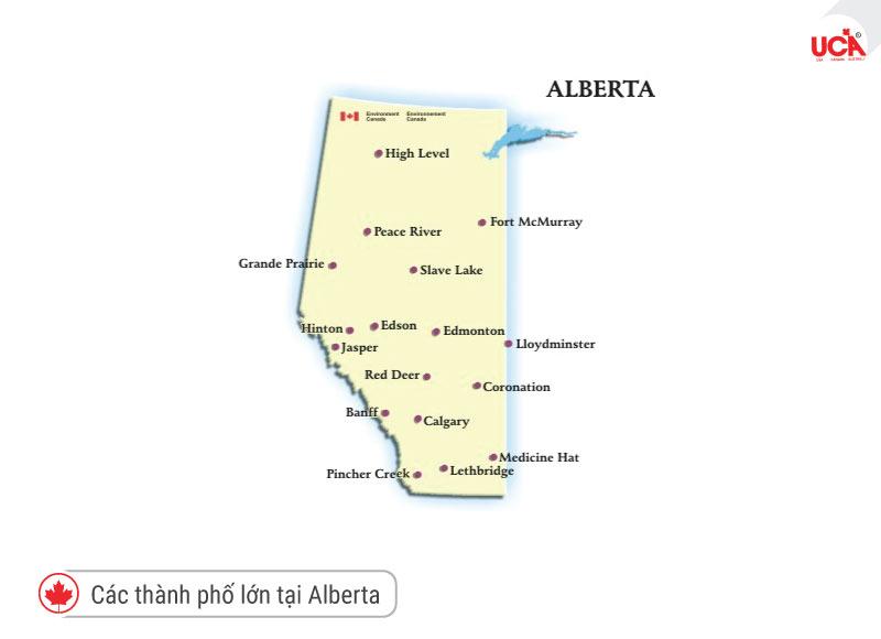 vị trí các thành phố lớn tại Alberta