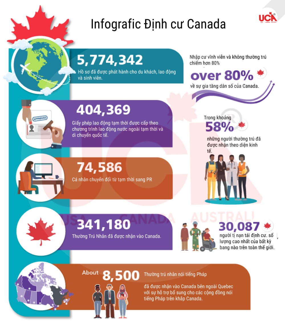 Định cư Canada năm 2019 hình Infografic