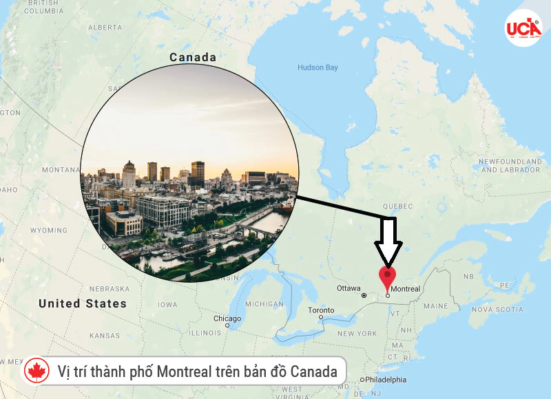 Vị trí thành phố Montreal Canada gần thủ đô Ottawa