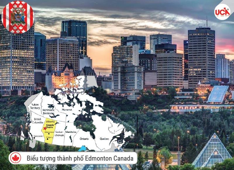 Biểu tượng và vị trí thành phố Edmonton trên bản đồ