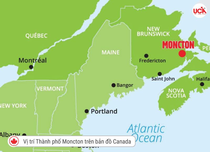 vị trí thành phố Moncton trên bản đồ
